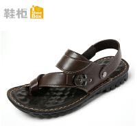 达芙妮旗下SHOEBOX/鞋柜夏款防滑按摩底金属装饰休闲男凉鞋