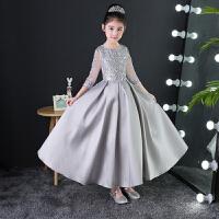 女童主持人晚礼服长款钢琴演出秋季新款儿童公主礼服蓬蓬裙演出服