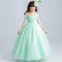 儿童婚纱礼服裙花童裙钢琴舞蹈裙 公主裙女童礼服长款演出表演裙 绿 色