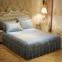 韩版床裙款冰丝凉席套件公主蕾丝床罩席子三件套夏季空调软席1.8m 蓝 安娜