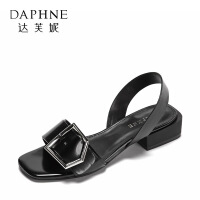Daphne/达芙妮 鱼嘴凉鞋 时尚方扣平底粗跟一字带女鞋