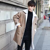 冬装麂皮绒毛呢大衣韩版宽松羊羔毛加绒加厚学生潮流保暖风衣外套