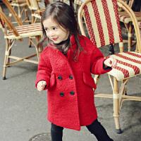 秋冬韩版童装女童毛呢子大衣加绒内衬长款外套双排扣呢大衣加厚款
