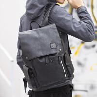 时尚潮流双肩包男士韩版休闲旅行背包电脑包大中学生书包男包cv 黑色