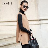 Amii极简小众100%羊毛双面呢毛呢外套女森系冬新直筒飘带无袖上衣