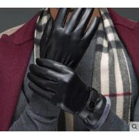 百搭韩版男士商务触屏手套皮手套男加厚加绒毛口保暖骑行开车
