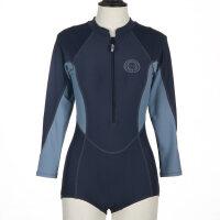 新款女士泳衣长袖运动泳装连体显瘦大码保守遮肚长袖防晒游泳衣女