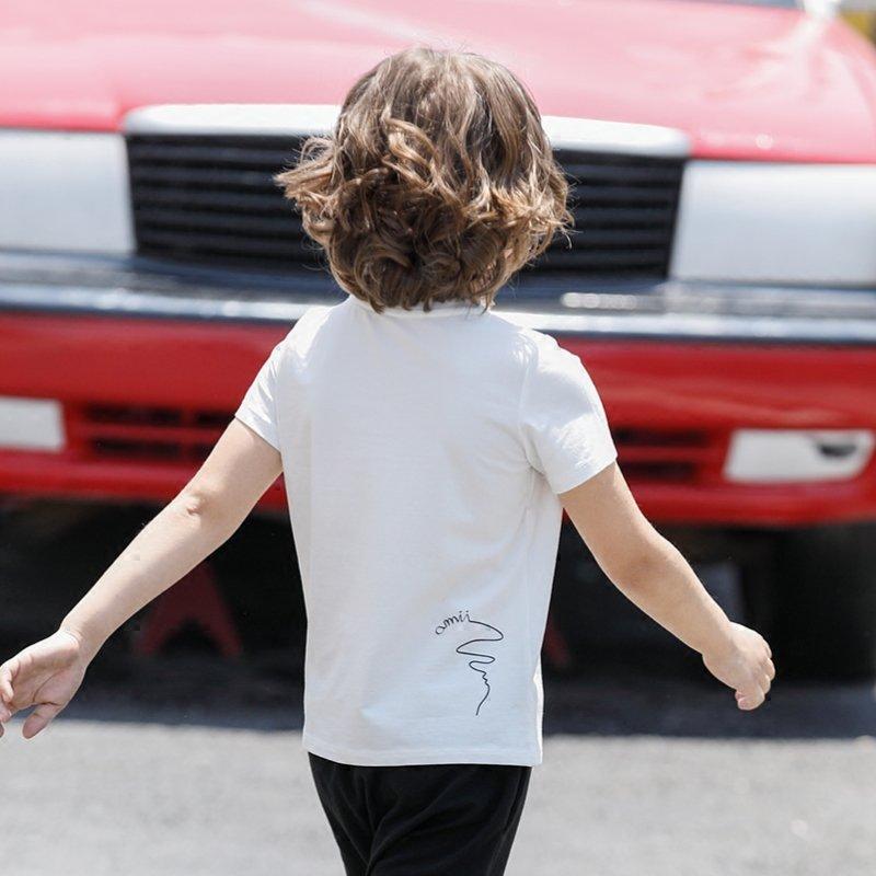 AMII童装儿童T恤2017夏新男童圆领T恤撞色贴布设计休闲薄款上衣.