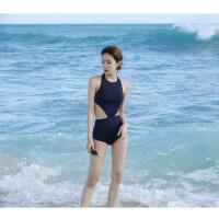 韩版新款泳衣女性感漏背三角连体比基尼泳衣遮肚显瘦小胸保守泳装 黑色