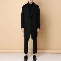韩版休闲宽松中长款羊绒大衣男士毛呢大衣风衣青年学生呢子男外套 墨绿色 S(44)
