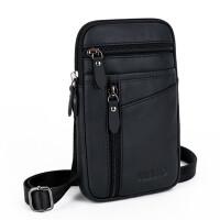 新款真皮腰包男士小包 穿皮带7寸手机腰包多功能牛皮 单肩迷你挂包潮