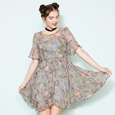 ZDORZI卓多姿夏装显瘦碎花系带两件套雪纺连衣裙734E270