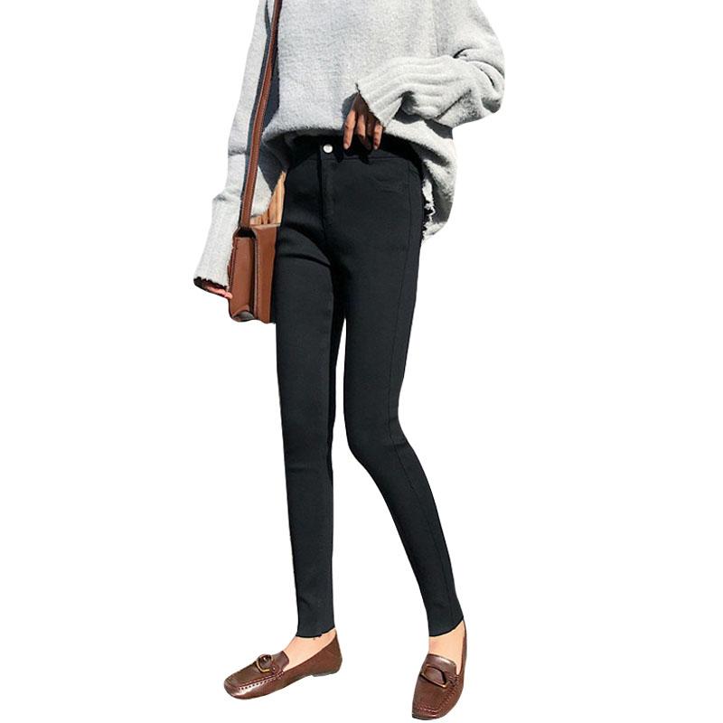 秋季韩版弹力修身显瘦加绒加厚毛边小脚裤铅笔裤休闲裤打底裤女裤 黑色