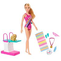 芭比娃娃趣味跳水宠物组合GHK23儿童女孩子过家家公主生日玩具