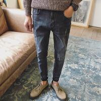 秋季学生牛仔裤男士韩版修身潮流百搭新款小脚男生破洞男裤子 59灰色 28