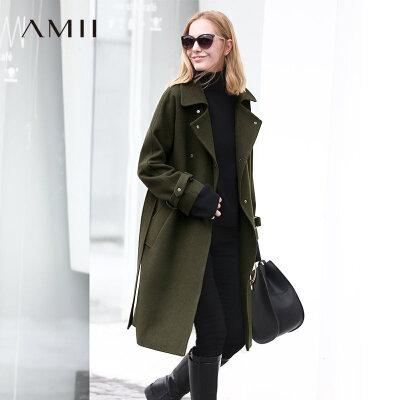 【品牌团 1件7折/2件5折】Amii[极简主义]潇洒帅气 54%羊毛呢子大衣 铆钉扣系带中长款外套