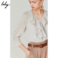 【一口价:259元】 Lily2019夏新款气质荷叶边宽松复古圆点亮丝雪纺衫衬衫8918