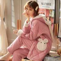孕妇睡衣冬季加厚加绒珊瑚绒三层夹棉睡袍套装月子服孕晚期家居服
