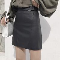 秋冬新款黑色金属装饰皮裙半身裙高腰裙子显瘦PU皮包臀裙短裙女装