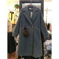 X6仿貂绒大衣女秋冬中长款西装领大口袋大码宽松毛球呢子外套1.25