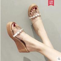 坡跟凉拖鞋女外穿时尚韩版百搭透明ins同款一字拖潮厚底沙滩女鞋