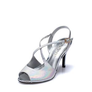 Daphne达芙妮 圆漾 夏女鞋 超高跟一字式扣带鱼嘴凉鞋1015303876