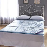夏季床垫1.2米1.5m床1.8米可折叠垫被床垫双人床褥垫背地铺睡垫 冰丝凉席床垫 --蓝色