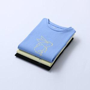 【下单立享5折】amii童装男童夏装 短袖T恤棉2017新款儿童中大童半袖圆领体恤