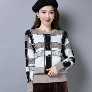 2018冬季新品新款韩版套头毛衣女圆领大码民族风针织衫格子打底衫