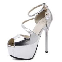 细跟凉鞋女夏欧美新款夜店14cm超高跟鞋防水台性感一字扣鱼嘴凉鞋