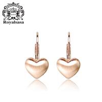 皇家莎莎Royalsasa韩国人气时尚百搭款玫瑰金耳环耳饰-爱在心间