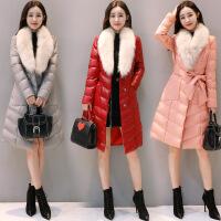 女中长款冬装新款韩版修身加厚保暖狐狸大毛领PU皮棉衣