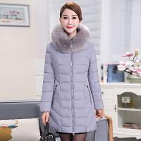 新款中老年女装纯色加厚中长款中年棉衣大码妈妈冬装棉袄外套