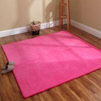 珊瑚绒家用地毯客厅卧室床边茶几沙发长方形飘窗满铺可爱粉地毯垫