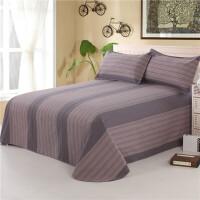 床单单件 32支老粗布床单加密粗布柔软细腻单人双人1.81.5m 灰色 灰条纹