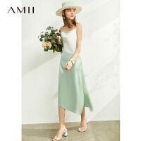 【券后预估价:202元】Amii极简法式丝光缎雪纺吊带连衣裙2020夏季新款撞色不规则女裙子