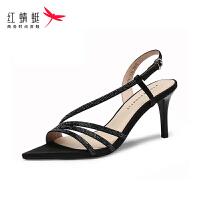 【红蜻蜓抢购,抢完为止】红蜻蜓法式高跟鞋女夏天时尚满钻宴会一字扣露趾细跟凉鞋