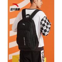 安踏背包男女双肩包2021新款黑色书包学生电脑包户外运动旅行背包