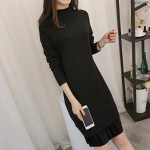 2018中长款韩版长袖打底衫女针织新款连衣裙显瘦拼接毛衣百褶裙潮