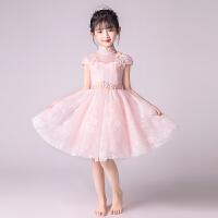 儿童公主裙婚纱粉色女孩走秀礼服主持人生日晚礼服钢琴演出服夏