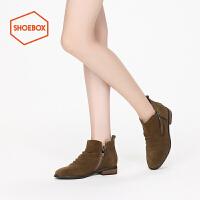 shoebox鞋柜冬新款PINKII圆头低筒靴女低跟踝靴侧拉链短