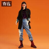 森宿2018冬新款复古通勤风Polo领印花袖口休闲显瘦网红西装外套女
