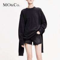 MOCO2019春季新品解构拉链组合圆领拼接连衣裙MAI1DRS056 摩安珂