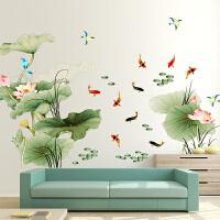 中国风墙贴贴画卧室墙画贴纸温馨床头墙面装饰创意房间墙纸自粘花 特大