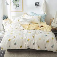 夏季棉床单被套床笠床上四件套卡通简约1.5m单双人被单床品