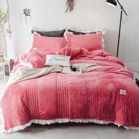 冬季少女心法兰绒法莱绒1.5米床品四件套1.8m床单被套珊瑚绒4件套