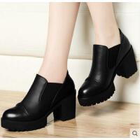 古奇天伦新款韩版百搭高跟鞋黑色中跟小皮鞋粗跟单鞋春季女鞋VGY8141