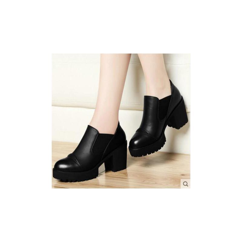 古奇天伦新款韩版百搭高跟鞋黑色中跟小皮鞋粗跟单鞋春季女鞋VGY8141 品质保证 售后无忧