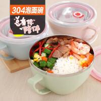 304不锈钢泡面碗杯 创意家用学生带盖有饭碗日式汤碗大号大碗餐具 k5e