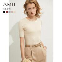 【到手价:115元】Amii极简欧货五分袖毛针织衫女2019新款修身显瘦黑色短袖打底上衣